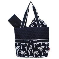 Tropical Palm Tree Print Quilted 3pc set Diaper Bag by NGIL