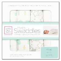 Swaddle Designs 4 Baby Blankets Lightweight Cotton Muslin Sea Green Crystal by Muslin Swaddles