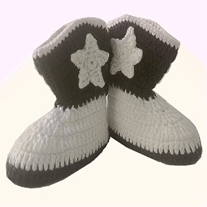 Baby Boots Crochet Shoes Handmade Boys Girls Newborn Infant Cowboy Boots Winter Shoes 12cm White...