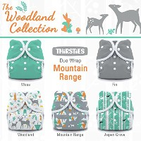 Thirsties Package, Snap Duo Wrap, Woodland Collection Moutain Range, Size 1 by Thirsties
