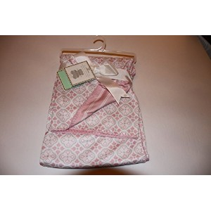 Jersey Reversible Baby Blanket Pink and White 30x40 by Manhattan Kids