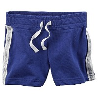 Carters Baby Girls Sparkle Side Stripe French Terry Shorts Blue 18M by Carter's