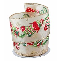 Festive Christmas Stocking Satin Wired Ribbon #40 - 2.5in x 10 yards by Party Explosions