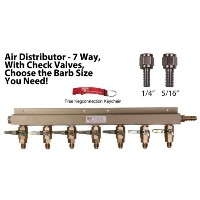 7 Way Air Manifold W/mfl Valves, Swivel Nut, 1/4 and 5/16 Barbs, Keychain. by Kegconnection