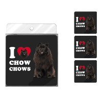 tree-free Greetings nc39033 I Heart Chow Chows 4 -パックArtfulコースターセット、ブラック