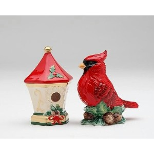 Cardinal with Birdhouse Salt and Pepper Set by Cosmos Gifts