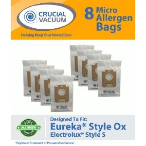 8 Eureka Style Ox & Electrolux Style S Paper Micro Allergen Bags, Compare To Part # 61230, Designed...