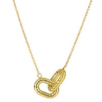 """14k Yellow Gold Shinny And Matt Finish Interconnected Oval Element Links On 18"""" Necklace"""
