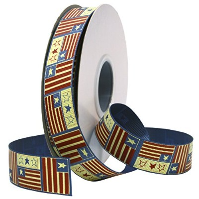 Morex Ribbon Americana, Grosgrain, 7/8-Inch by 25-Yard, Tea-stained Red, White and Navy Blue by...