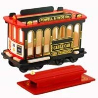San Francisco Cable Car 5インチ木製with Rolling Wheels with Copyrighted Exclusiveポール・ハーバートPoem