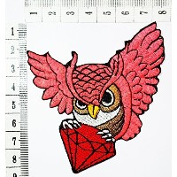 owl with red Diamond Gemstone Carat Retro Jewelry Cartoon Children Kids Embroidered Iron patch /...