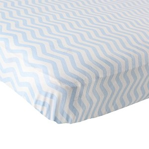 Luvable Friends Fitted Knit Cotton Crib Sheet, Blue Chevron by Luvable Friends