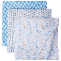 Hudson Baby Winter Bird Swaddle Blanket - blue, one size by Hudson Baby