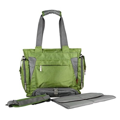 ECOSUSI Diaper Tote Bag Organizer Pockets with Stroller Strap Green by ECOSUSI