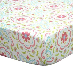 Gia Multi-Colored Damask Cotton Baby Girl Crib Fitted Sheet by The Peanut Shell