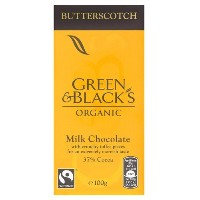 Green & Blacks Organic Milk Butterscotch Choc 100 g (order 15 for trade outer) / グリーン黒人有機牛乳WWWWバターチョ...