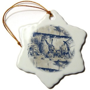 3dローズPSヴィンテージ – アリスの国のアリスTea Party with Mad Hatter – Ornaments 3 inch Snowflake Porcelain Ornament...
