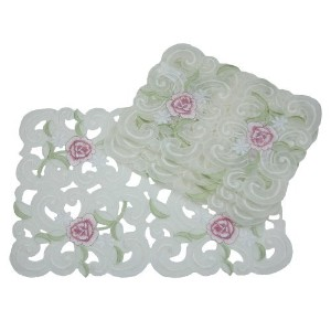 Xia Home Fashions Dainty Rose Embroidered Cutwork Spring Placemats, 12-Inch by 18-Inch, Set of 4 ...