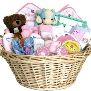 Welcome Baby! Newborn Baby Girl Gift Basket -Pink Deluxe by Organic Stores