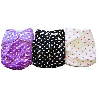 Naughty Baby Minky Washable Adjustable Cloth Pocket Diapers with Inserts Girl Variety Pack (Polka...
