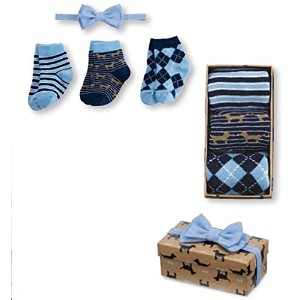 Mud Pie Little Buddy Baby Boy Sock & Bow Tie Gift Set 1592077 by Mud Pie