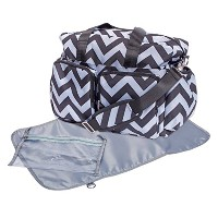 Trend Lab Chevron Deluxe Duffle Diaper Bag, Black/Grey by Trend Lab