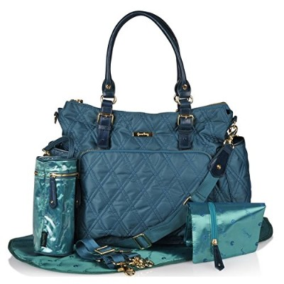 Luxury Diaper Bag in Stylish Turquoise, 7-Piece, Weekender- Tote Bag -Baby Boy & Baby Girl -...