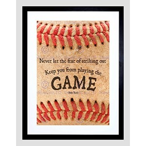 Never Let Fear野球スポーツQuote Typography Babe Ruth Framed Print b12 X 13949 12-Inches x 16-Inches ブラック...