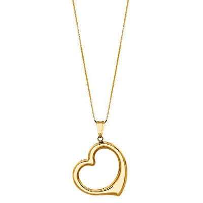 "14k Yellow Gold Open Heart Pendant On 18"" Necklace"