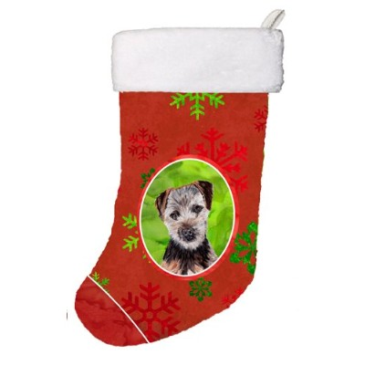 """Caroline 's Treasures Norfolk Terrier PuppyレッドSnowflakes Holidayクリスマスストッキング、11x 18、"""" Mulitcolor"""
