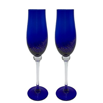 (Tulip Blue) - KCHAIN 2pcs Champagne Flute Glass 210ml (Tulip Blue)