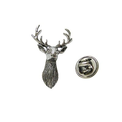 Silver Toned Textured Stag Deer Headラペルピン