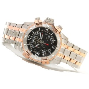 インビクタ 時計 インヴィクタ メンズ 腕時計 Mens Invicta 80231 Sea Thunder Chronograph Black Perforated Dial Two-tone...