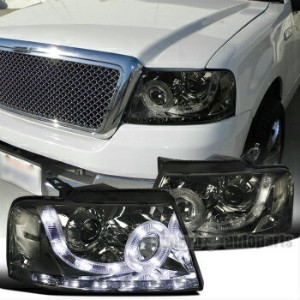 フォード リンカーン ヘッドライト 2004-2008 Ford F150 Smoke Lens Clear Reflector Halo Projector LED Headlights 2004...