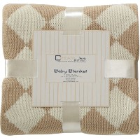 Elegant Knit Argyle Baby Blanket (Camel) by Cream Bebe