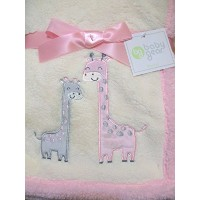 Mommy and Baby Giraffe Soft Pink and Cream Blanket by Cutie Pie Baby