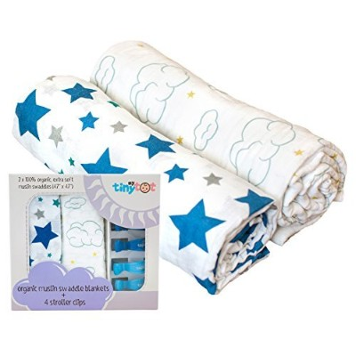100% Organic Cotton Swaddle Blanket & Stroller Clip Set - Extremely Soft & Breathable - Use As a...