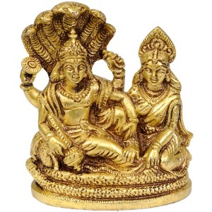 lakshmi-vishnu Seated on Sheshnag – 真鍮Statue