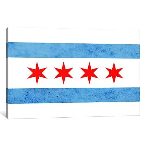 iCanvasART 1ピースChicago Flag Smallグランジキャンバスプリントby Kane、0.75by 26by 18インチ