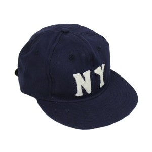 EBBETS FIELD FLANNELS/ NEW YORK BLACK YANKEES 1936 6PANEL COTTON CAP - NAVY / エベッツ キャップ フリーサイズ / NY...