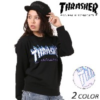 レディース トレーナー THRASHER スラッシャー L FLAME 3C CREW SWEAT TH94130-PL EE3 J3