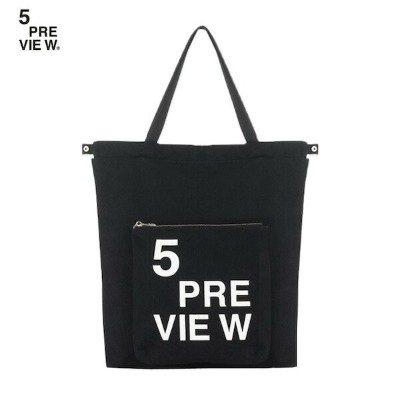 5PREVIEW (ファイブプレビュー) KURT BACKPACK TOTE (BLACK) [トートバッグ/バックパック/プリント/ロゴ/コットン/2WAY/UNISEX] [ブラック]