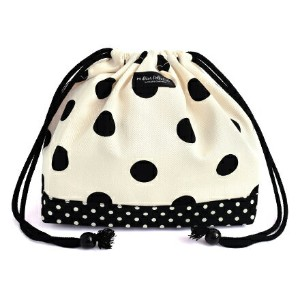 decorPolkaDot 巾着(中サイズ) polka dot large(twill・white)×polka dot small(twill・black)【ポーチ ランチバッグ 給食袋】(幼児...