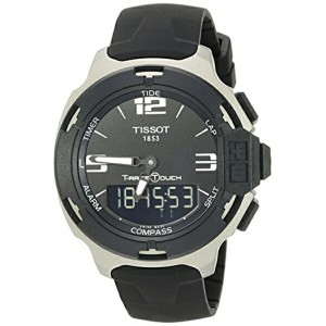 ティソ Tissot 腕時計 メンズ 時計 Tissot Men's T0814209705701 T-Race Black Dial Rubber Strap Watch