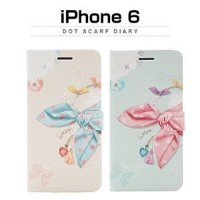 その他 Happymori iPhone6 Dot Scarf Diary ピンクスカーフ ds-1823334
