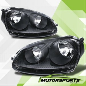 フォルクスワーゲン ヘッドライト 2006 2007 2008 2009 Volkswagen VW Mk5 Golf Jetta GTI Black Headlights Pair 2006...
