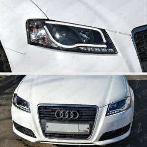 アウディ ヘッドライト 2002-04 AUDI A6/QUATTRO New Pair Black Projector LED DRL Headlight Lamp Assembly 2002...