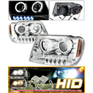 Jeep Grand Cherokee ヘッドライト Xenon HID 99-04 Grand Cherokee Halo Projector Headlights キセノンは、99から04グランド...