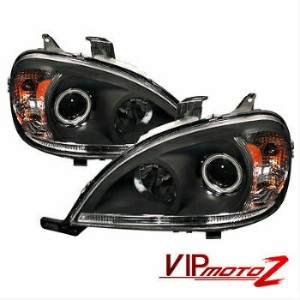ベンツ ヘッドライト *Shadow Black* 98-05 Mercedes Benz W163 Halo Projector Headlights W/Amber *シャドウブラック*...