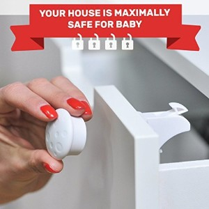 Invisible Magnetic Locks for Cabinets & Drawers - 4 Locks, 1 Key + Bonus Tape by CareMe - the Most...